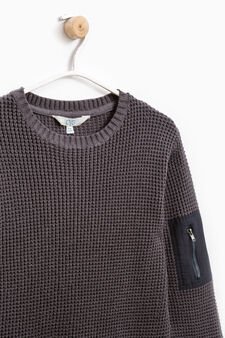 Pullover with sleeve pocket, Grey, hi-res