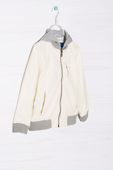 Leather look jacket with hood, White, hi-res