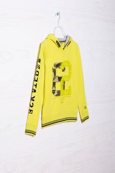 Printed hoodie in 100% cotton, Lime Green, hi-res