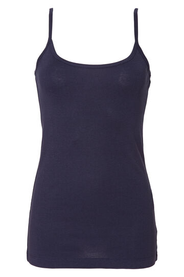 Top in puro cotone tinta unita, Blu navy, hi-res