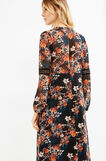 Lined dress with flower print, Black, hi-res