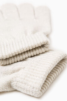 Solid colour knitted gloves, Natural, hi-res