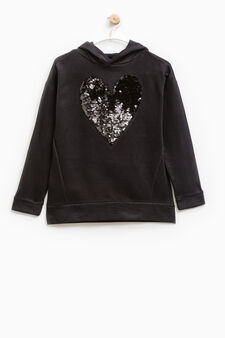 Hoodie with sequins, Black, hi-res