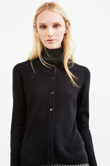Solid colour cardigan with slits, Black, hi-res