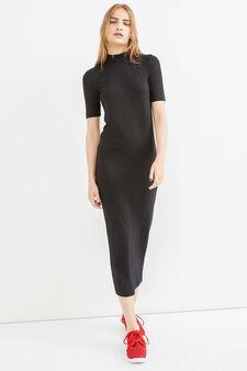 Long ribbed stretch dress, Black, hi-res