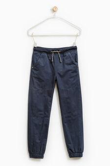 Pantaloni cotone con coulisse, Blu avio, hi-res