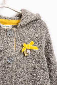 Cardigan lana stretch con fiocchetto, Grigio melange, hi-res