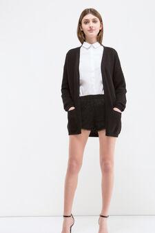 Shorts in pizzo tinta unita, Nero, hi-res