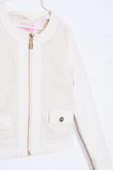 Solid colour jacket in viscose blend, Milky White, hi-res