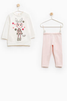Stretch cotton tracksuit with sweatshirt and leggings, Milky White, hi-res