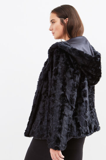 Curvy faux fur jacket, Black/Blue, hi-res