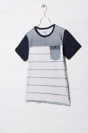 T-shirt puro cotone rigata, Bianco, hi-res