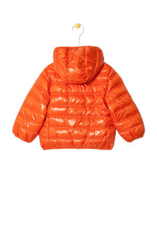 Plain down jacket with hood, Red, hi-res