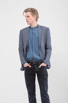 Regular fit jacket in 100% linen, Soft Blue, hi-res