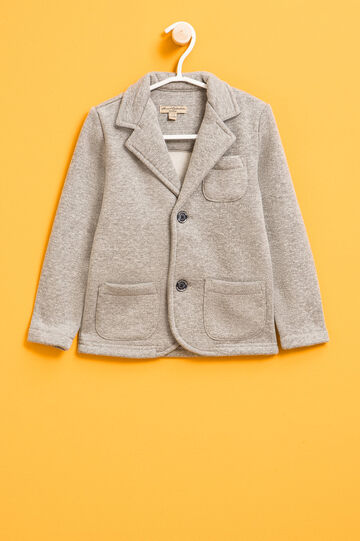 Cotton mélange jacket with two-button fastening, Grey Marl, hi-res