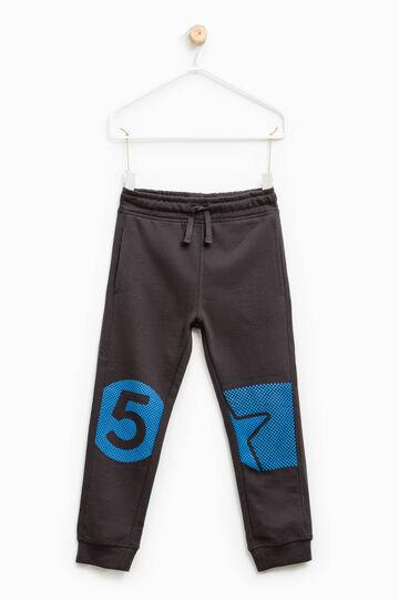 Printed joggers in 100% cotton, Grey, hi-res