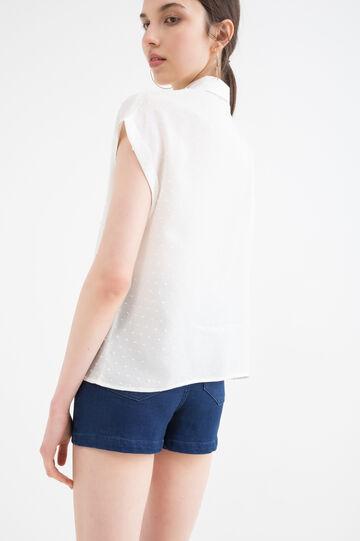 Short-sleeved viscose shirt., White, hi-res