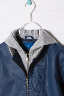 Leather look jacket with hood, Deep Blue, hi-res