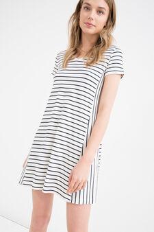 Striped dress in stretch viscose, White/Blue, hi-res