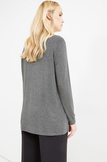 Curvy V-neck stretch T-shirt, Grey, hi-res