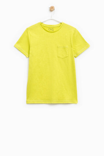 Cotton T-shirt with pocket, Yellow, hi-res