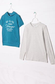 100% cotton T-shirt and sweatshirt outfit., Light blue/Grey, hi-res