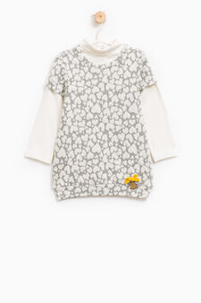 Dress with long-sleeved T-shirt, White/Grey, hi-res
