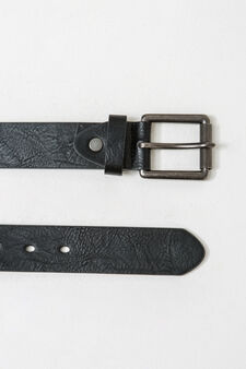 Solid colour belt with square buckle, Black, hi-res