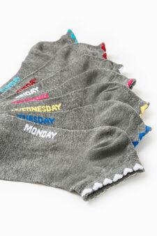 Seven-pair pack short stretch socks, Grey, hi-res