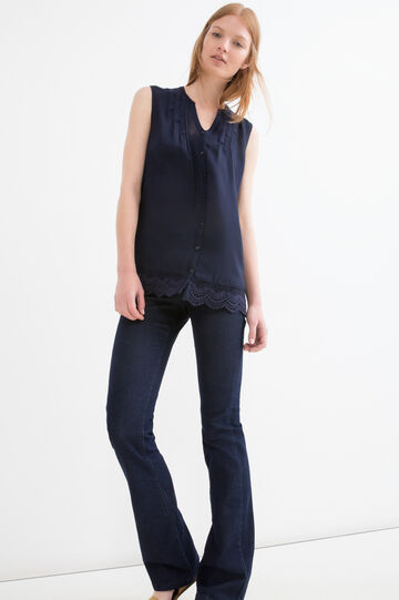 Solid colour 100% viscose blouse., Navy Blue, hi-res