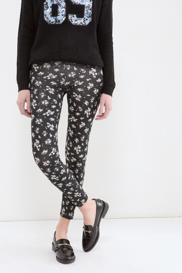 Floral stretch leggings, Black, hi-res