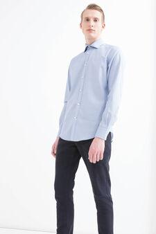 Camicia slim fit in cotone fantasia, Azzurro, hi-res