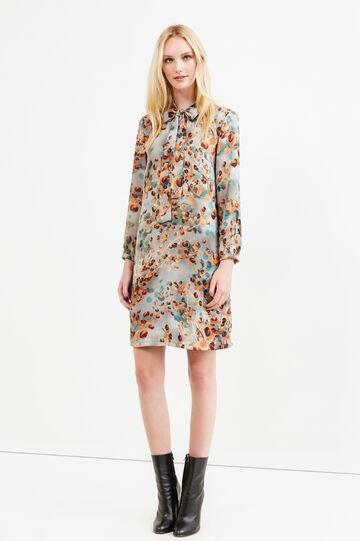 Floral pattern dress with lace tie, Blue/Orange, hi-res