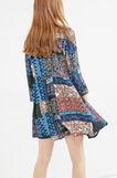 100% viscose dress with all-over print, Blue, hi-res