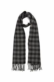 Checked scarf with fringe, Grey Marl, hi-res