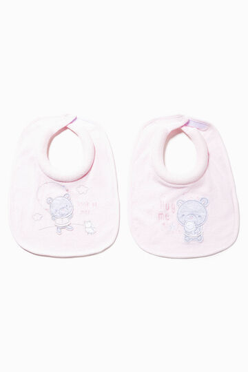 Two-pack cotton bibs with patch, Pink, hi-res