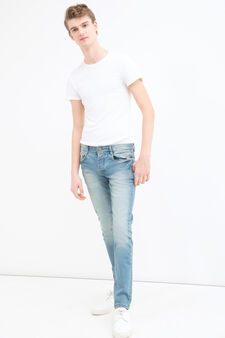 Jeans skinny fit stretch abrasioni, Denim, hi-res