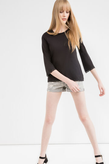 100% cotton T-shirt with three-quarter sleeves., Black, hi-res