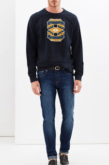 G&H sweatshirt with ethnic pattern print, Navy Blue, hi-res