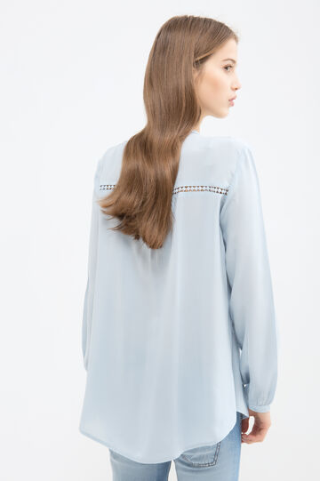 Solid colour blouse with pleating, Light Blue, hi-res