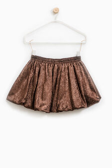 Pleated skirt in 100% cotton, Brown, hi-res