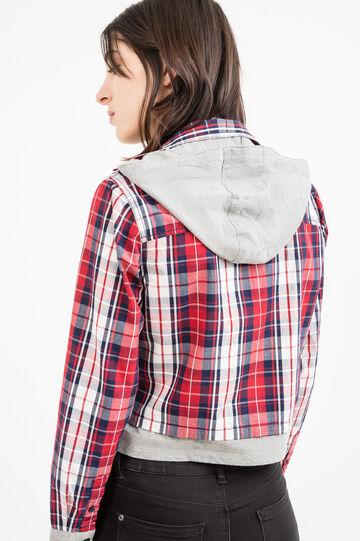 100% cotton shirt with hood, White/Black, hi-res