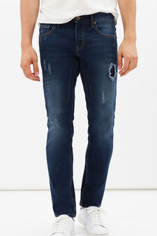 Skinny fit jeans with rips and abrasions, Light Wash, hi-res