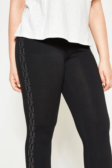 Leggings in cotone con strass Curvy, Nero, hi-res