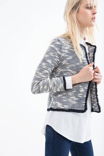 Cotton blend fringed blazer