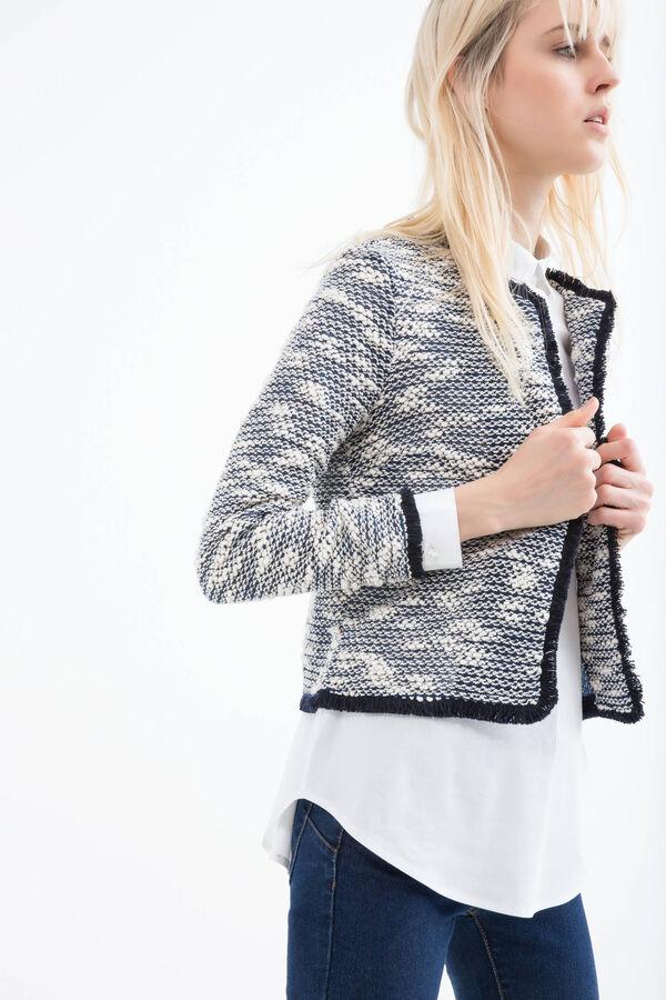 Cotton blend fringed blazer | OVS