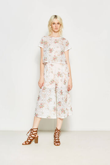 Gaucho trousers with floral openwork