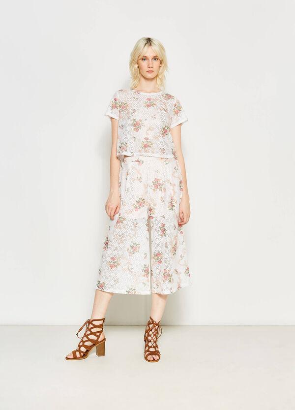 Pantalón culotte con flores y diseño calado | OVS