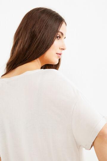 Curvy solid colour 100% viscose T-shirt, Chalk White, hi-res