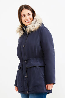Curvy faux fur jacket, Blue, hi-res